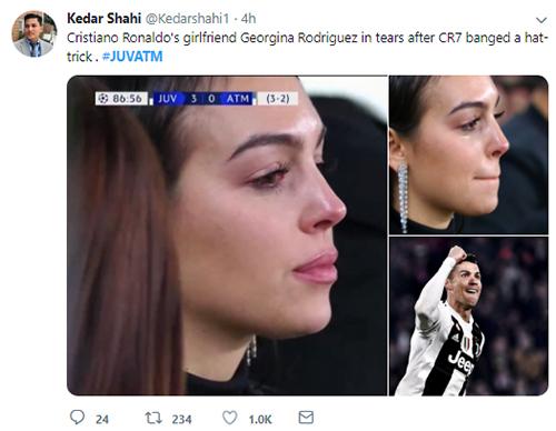 Hàng nghìn lượt thích và chia sẻ cho khoảnh khắc bạn gái Ronaldo khóc. Ảnh chụp màn hình