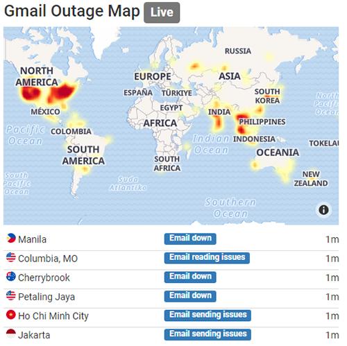 Người dùng báo cáo về tình trạng Gmail và Google Drive bị lỗi từ sáng nay.