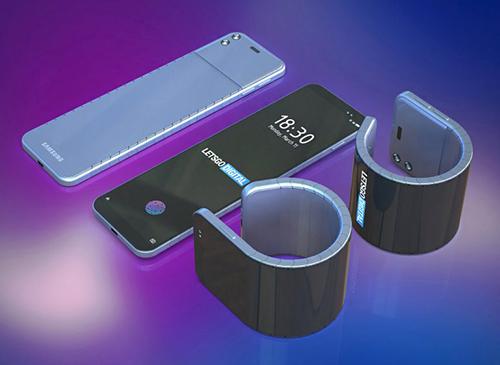 Hình dung smartphone có thể đeo tay của Samsung. Ảnh:LetsgoDigital.