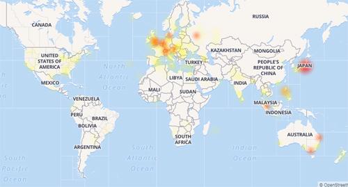Đến 14h30, Facebook tại Việt Namgần như được khôi phục, Mỹ còn rải rác trong khi châu Âu và Nhật vẫn bị ảnh hưởng nghiêm trọng.Mức độ ảnh hưởng từ ít đến nhiềuthể hiện qua các màu vàng nhạt - vàng- cam - đỏ. Nguồn: DownDetector.