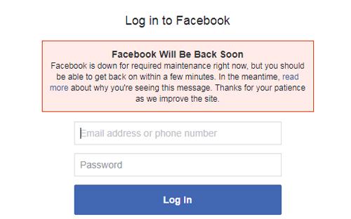 Thông báo bảo trì trên trang đăng nhập Facebook.