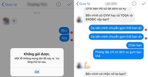 Một số shop online gặp khó hoặc không thể gửi tin nhắn trên fanpage Facebook. Ảnh chụp màn hình