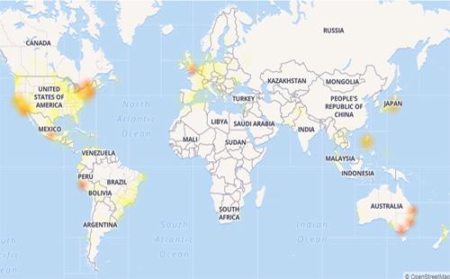 Mạng xã hội Facebook đang xảy ra sự cố trên diện rộng, trong đó Việt Nam ảnh hưởng ở mức trung bình (vàng). Mức độ ảnh hưởng từ ít đến nhiều thể hiện qua các màu vàng nhạt - vàng - cam - đỏ.