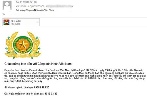 Một email mạo danh Bộ Công an có chứa tệp đính kèm là mã độc GandCrab 5.2. Ảnh chụp màn hình