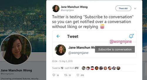 Một tính năng mới chưa phát hành của Twitter được Wong phát hiện và đăng tải trên chính Twitter.