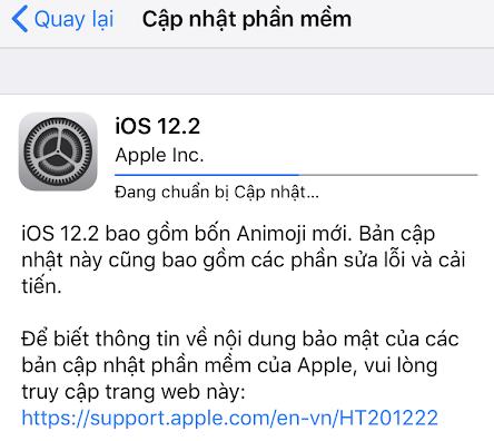 Thông báo nâng cấp iOS 12.2. Ảnh chụp màn hình