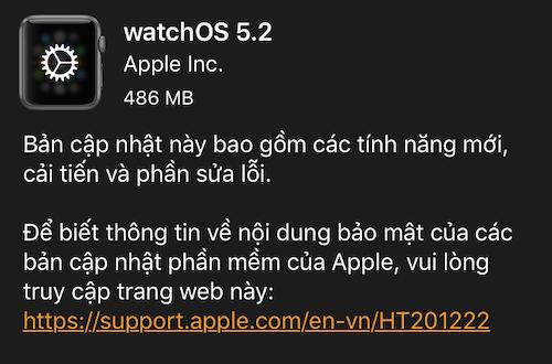 Thông báo bản cập nhật watchOS 5.2 cho Apple Watch.