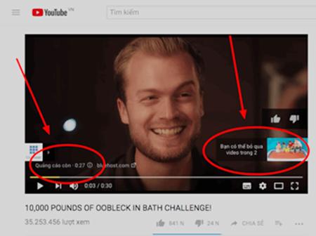 Quảng cáo xuất hiện trêncác video bật kiếm tiền.