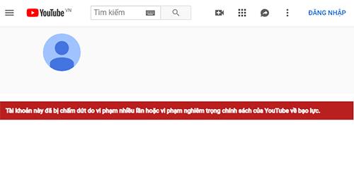 Thông báo khóa kênh khi truy cập YouTube Dương Minh Tuyền.