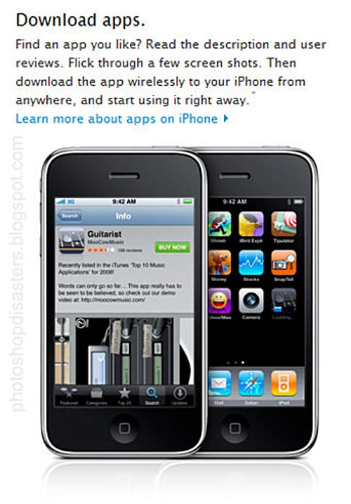 Apple vốn nổi tiếng về việc chau chuốt và giữ gìn hình trước công chúng nhưng ảnh giới thiệu về sản phẩm trên website cũng mắc lỗi Phtooshop sơ đẳng. Xem đáp án.