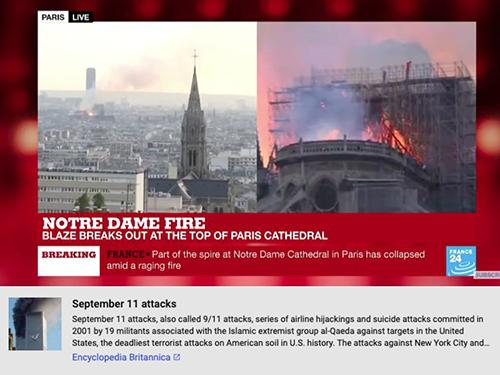 Bên dưới video cháy Nhà thờ Đức bà Paris, YouTube lại hiển thị thông tin về vụ khủng bố 11/9.