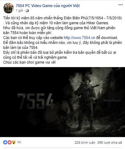 Thông tin cho tải về miễn phí game 7554 gây xôn xao cộng đồng game thủ trên Facebook sáng nay.