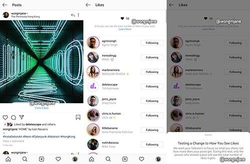 Instagram thử nghiệm giao diện mới, không hiển thị tổng số like của bài đăng.