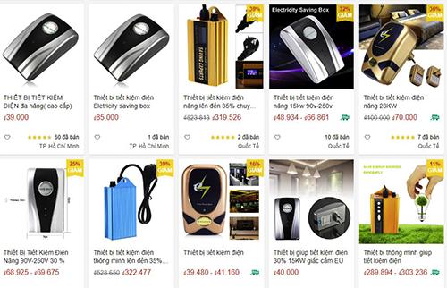 Những thiết bị tiết kiệm điện bán trên một trang thương mại điện tử có giá chưa tới 50.000 đồng.