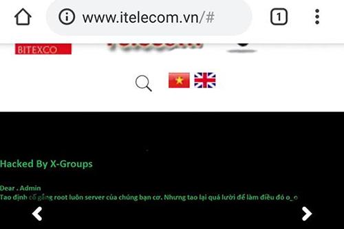 Giao diện trang itelecom.vn khi bị hack. Ảnh: Vn-Zoom