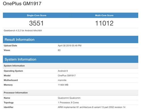 Điểm hiệu năng của OnePlus GM1917. Ảnh: Geekbench.