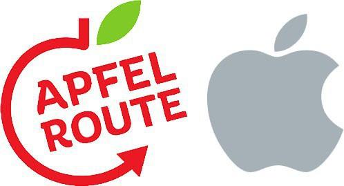 Logo Apfelrouter (bên trái) và Apple (bên phải).
