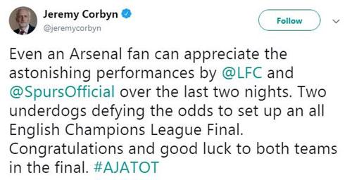 Lãnh đạo đảng Lao động (Anh) - Jeremy Corbyn, đồng thời là fan của Arsenal cũng phải thốt lênkinh ngạc với màn trình diễn của Liverpool và Tottenham trong hai đêm vừa qua.