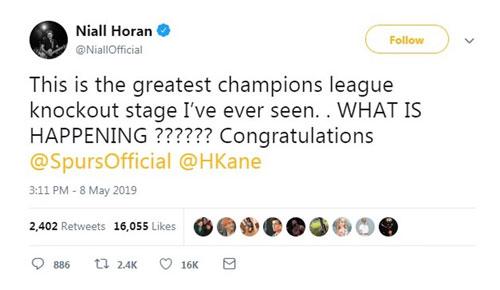 Niall Horan - cựu thành viên của nhóm nhạc nổi tiếng One Directiion đánh giá đây là vòng đấu loại Champions League tuyệt vời nhất lịch sử mà anh từng chứng kiến.