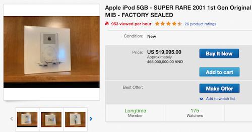 iPod thế hệ đầu tiên được rao bán trên eBay với giá gần 20.000 USD.