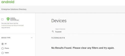 Các sản phẩm của Huawei không còn trên trang Android Enterprise.