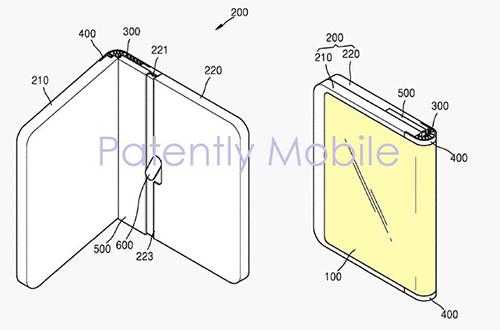 Bằng sáng chế của Samsung về mẫu smartphone với màn hình gập ra ngoài.