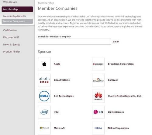 Danh sách thành viên mới nhất củaLiên minh Wi-Fi có tên Huawei.