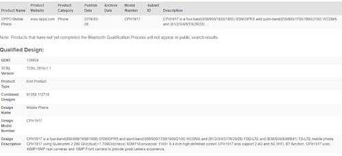 Thông số kỹ thuật của Oppo Reno theo Bluetooth SIG.