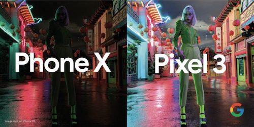 Google so sánh khả năng chụp đêm của iPhone X và Pixel 3.