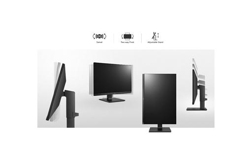 Chân đế linh hoạt nâng hạ, xoay hoặc thậm chí lật 90 độ cho màn hình dựng đứng.