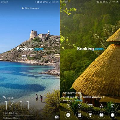 Quảng cáo Booking.com xuất hiện trên màn hình khóa điện thoại Huawei.