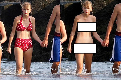 Tấm ảnh nữ ca sĩ Taylor Swift sau khi xử lý bởi DeepNude. Ảnh: Hybridtechcar.