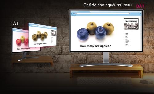 Màn hình LG với tính năng Color Weakness Mode hỗ trợ cho người dùng mù màu.