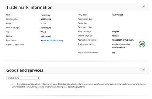 Thương hiệu Harmony được Huawei đăng ký tại châu Âu.