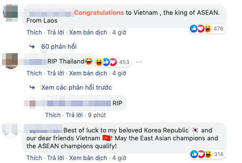 Một số lời chúc được gửi đến đội tuyển Việt Nam và chia buồn với Thái Lantrên fanpage AFC.
