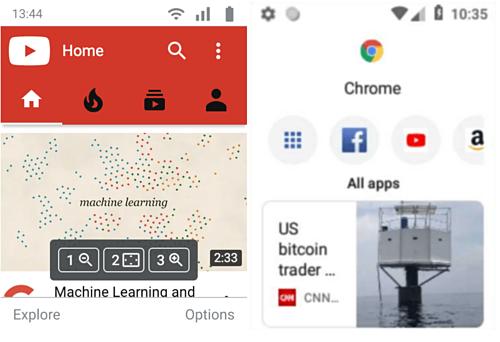 Giao diện nhỏ nhưng vẫn cho thấy các đặc trưng như ứng dụng trên Android.