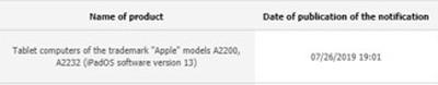 Thông tin về hai phiên bản iPad mới trong cơ sở dữ liệu của EEC.