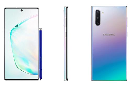 Galaxy Note 10 phiên bản màu bạc với hiệu ứng chuyển màu.