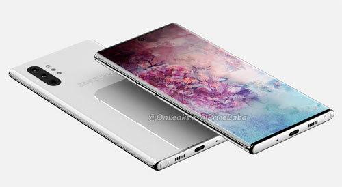 Galaxy Note 10 có màn hình cong tràn hai cạnh. Ảnh: OnLeaks