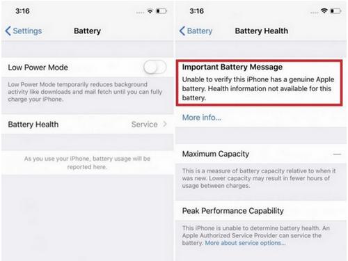 Thông báo trên iPhone khi pin không được thay bởi Apple hoặc công ty ủy quyền của Apple.