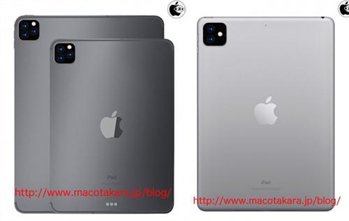 iPad Pro 2019 (bên trái) sẽ có camera ba ống kính, trong khi iPad 10,2 inch (bên phải) sẽ có camera kép. Ảnh: Macotakara.