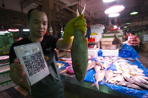 Mua hàng ở chợ cá tại Thâm Quyến cũng quét QR code để trả tiền. Ảnh: SCMP.