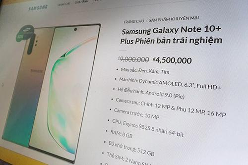 Mẫu máy được giới thiệu là Galaxy Note10+ bản trải nghiệm, có giá bán4,5 triệu đồng.