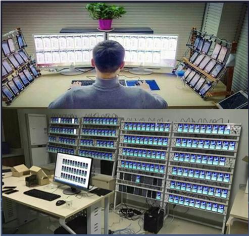 Một Yangmaodang và modem pool - cỗ máy cày số điện thoại ảo.