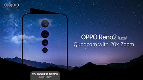 Trang Twitter của Oppo tại Ấn Độ xác nhận sự ra mắt của Reno 2 vào ngày 28/8 tới.
