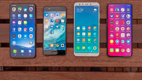 Smartphone Trung Quốc ngày càng có nhiều mẫu mã, chủng loại. Ảnh: The Verge.