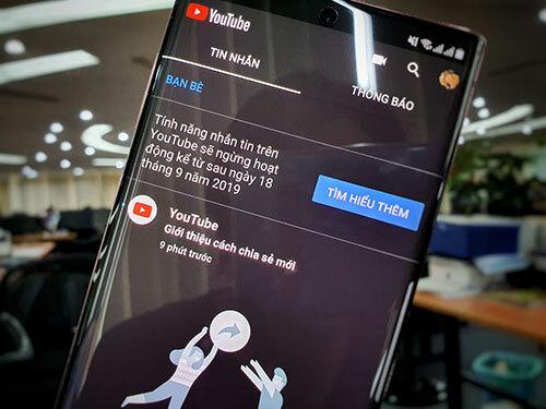 Thông báo trên ứng dụng Youtube về việc ngừng dịch vụ nhắn tin.