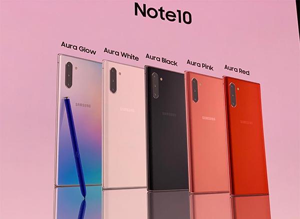 Note 10 có 5 màu sắc.
