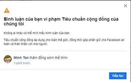 Bình luận anh Tân cho rằng bình thường, nhưng lại bị Facebook cho là vi phạm tiêu chuẩn cộng đồng.