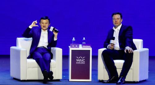 Jack Ma (bên trái) và Elon Musk (bên phải) tại WAIC.